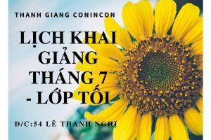 Lịch khai giảng lớp học tối tại Lê Thanh Nghị Tháng 7,8 – 2018