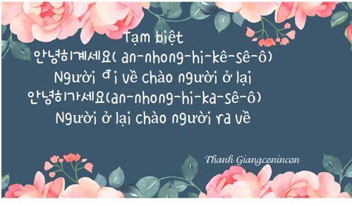 Tạm biệt trong tiếng Han